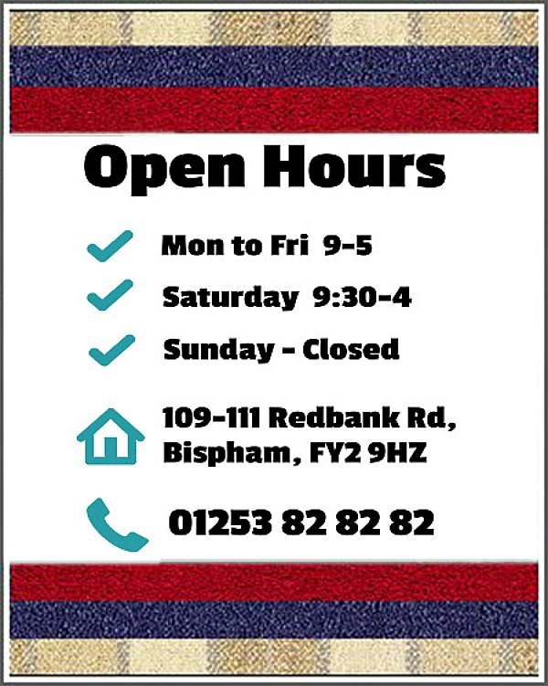 Opening Hours-Harper and Pye-Blackpool Carpets Showroom
